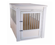 Small Dog Kennel White End Table Cage Crate Pet Eco Wooden Medium Puppy Bed NEW