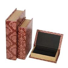 "Hosley Storage Memory Book Boxes Set of 3, Red Brown & Gold,12"", 10"", 8"" H. Id.."