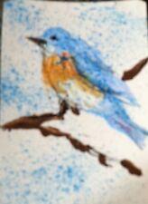ACEO  Original Art Card by Judi Bilick~  ~ ABSTRACT BLUE BIRD