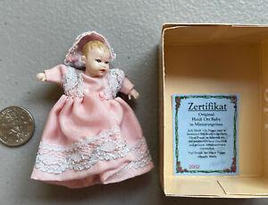 "Dollhouse Miniatures Heidi Ott 2"" Baby Doll 1:12 in Pink Dress Hat Booties"
