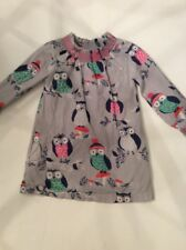 Mini Boden Girls Size 2-3y Owl Lined Dress Grey Blue Pink Green