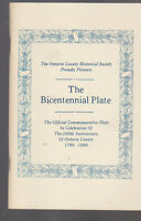 Ontario County Historical Society NY Bicentennial Plate Booklet 1989