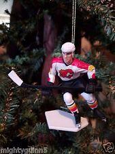 Theo Fleury Calgary Flames NHL Hockey Christmas Tree Ornament White Jersey