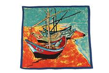 Large Square Satin Scarf Blue and Orange Theme Classic Painting Print SAT015