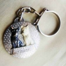 Vintage Metal  Keychain Key Ring Holder Black & White Scotch  Whisky