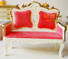 1/12 Dollhouse Miniature Furniture Toy Milk yellow Victoria Couch Double Sofa