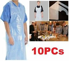 FD4598 Home Kitchen Disposable Plastic Aprons White Polythene Aprons Flat 10PCs♫