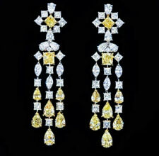 8Ct Princess Canary Yellow Synt Diamond Chandelier Earrings White Gold FN Silver