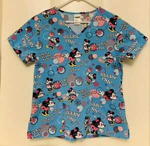 S women's small Disney Minnie Mouse Blue Geeky Chic Smart Scrub Top Nurse