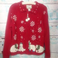 Vintage Ugly Christmas Winter Sweater Polar Bear Red White Snowflake Large Tacky