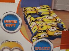 """DESPICABLE ME Plush BLANKET TWIN BED Throw MINION Movie Size 62"""" x 90"""" NEW"""