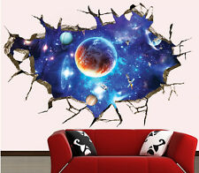 3D Outer Space Wall Stickers Removable Galaxy Home Decor Vinyl Art Wall Decals