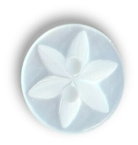 HolmeCraft new pack of 100 x WHITE STAR baby buttons size 26 (17mm)