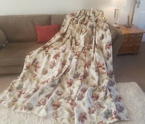 """Laura Ashley Gosford paprika linen union curtains huge 128"""" wide by 84"""" drop"""