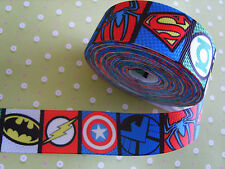 1 M BOYS AVENGERS MARVEL SUPER HEROS SUPERHERO GROSGRAIN RIBBON 25MM BOW CAKE