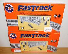 LIONEL FASTRACK 81950 81951 REMOTE 0-60 RIGHT LEFT HAND SWITCH TRACK O GAUGE SET