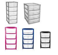 Plastic Storage Drawer Unit 3,4,5 Tier Tower Cabinet Space Saver Organizer Tidy