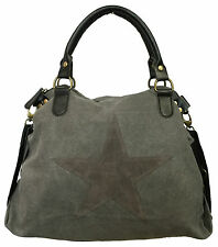 STERN DAMEN TASCHE STAR CANVAS FASHION SHOPPER HENKELTASCHE STOFFTASCHE PU LEDER