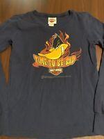 Harley Davidson Looney Tunes L/S Youth Small Boys T Shirt Daffy Bugs Tas USA