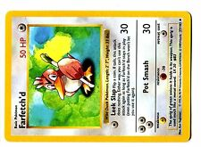 POKEMON BASE English SHADOWLESS CARD UNCO N°  27/102 FARFETCH'D