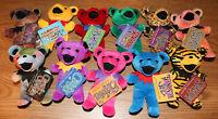 """Grateful Dead 7"""" Bean Bears by Liquid Blue Edition 1 Set of 11 Beanie Tags 1997"""