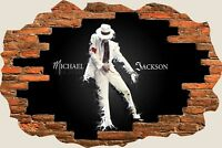 3D Hole in Wall Michael Jackson View Wall Sticker Film Decal Wallpaper Mural 810