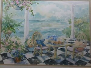 """Large C. WINTERLE OLSON Embossed WATERCOLOR. 1980S museum collection  22 -28"""""""