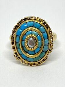 Tiffany & Co Customized 22k Turquoise Pearl Gold Cluster Ring 10.9 Grams