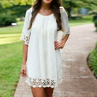 Women Summer Casual White Chiffon Crew Neck Beach Short Mini Dress Loose Top NEW