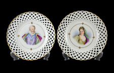 Pair Sevres  Hand Painted Porcelain Reticulated Portrait Plates, c1900. Signed