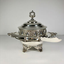 Vintage American Silverplate Co. Repoussé Lidded Butter Dish with Knife