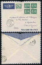 FRENCH INDOCHINA LANGSON 1939 BLOCK FRANKING + 22c...AIR FRANCE ENVELOPE