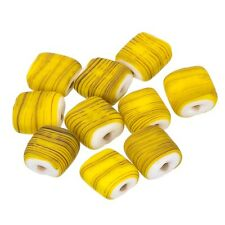 Black Striped Matte Yellow Flat Square Glass Beads 10x10x5mm Pack of 10 (B18/2)