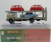 BREKINA 58478 Fiat 642 autocarro bisarca e 3 vetture FIAT 1800 + multipla 1:87