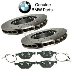 For BMW E60 M5 E63 E64 M6 Front Cross-Drilled Brake Discs Pads & Sensors KIT OES