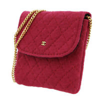 CHANEL CC Quilted Chain Mini Pouch Red Pink France Vintage Authentic #U909 W