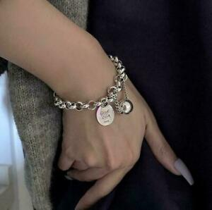 925 Silver Good Lucky Beads Bracelet Thick Chain Women Charm Party Jewelry Gifts