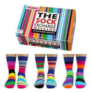 UNITED ODDSOCKS WEEKEND SIX FUNKY STRIPED ODD SOCKS FOR MEN SIZE 6 /11 GIFT IDEA