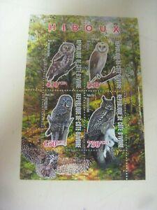 2011 IVORY COAST STAMP BLOCK  of OWLS  REPUBLIQUE DE COTE D'IVOIRE HIBOUX