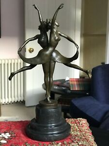 SPECTACULAR ART DECO BRONZE STATUE DANCING SISTERS BY ALDO VITALEH ON MARBLE