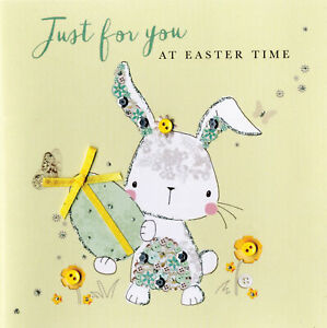 Just For You At Easter Time Greeting Card Buttoned Up Embellished Greetings Card