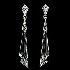 Sterling Silver 925 Vintage Style Marcasite & Black Onyx Drop Earrings RRP $120