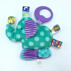 Taggies Green Elephant Linkable Hanging Stroller Rattle Plush Baby Toy CUTE
