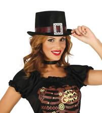 Cappello a cilindro steampunk effetto velluto con fibbia per travestimento  gotic 1c5894700174