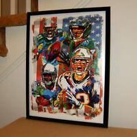 Super Bowl LII Patriots Eagles Brady Foles Sports Poster Print Wall Art 18x24