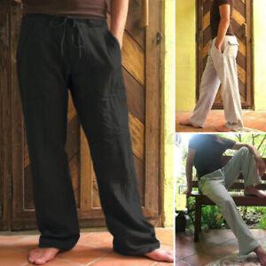 INCERUN Herren 100% Baumwolle Loose Pants Casual Beach Kordelzug Hose Hosen