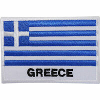 Greece Flag Embroidered Iron / Sew On Patch Greek Clothes Jeans Embroidery Badge