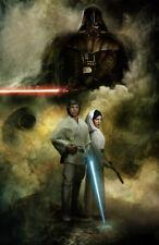 Star Wars Luke, Leia, Darth Vader Original Art Print signed by Scott Harben