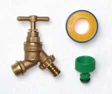 1/2 Inch Brass Outside Bib Tap With Garden Hose Pipe Fitting + PTFE tape