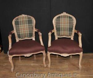 Pair Victorian Tartan Arm Chairs Chair Fauteuil